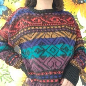 Vintage Sweaters - VINTAGE RAINBOW KNIT SWEATER